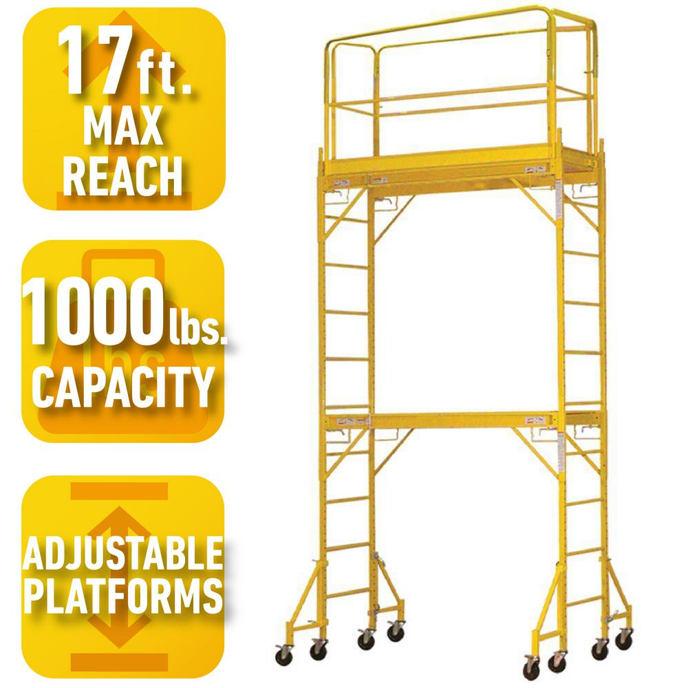 Pro Series 2 Story Rolling Scaffold Tower With 1000 Lb Load
