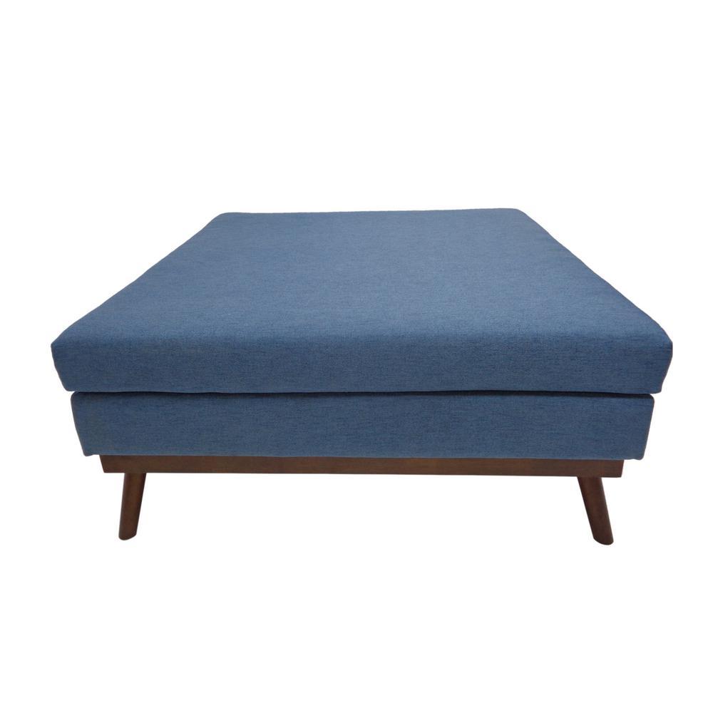 Paola Mid-Century Modern Blue Fabric Ottoman