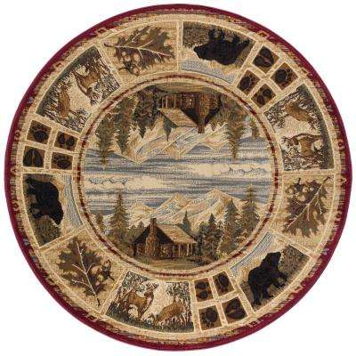 Nature Red 8 ft. Round Area Rug