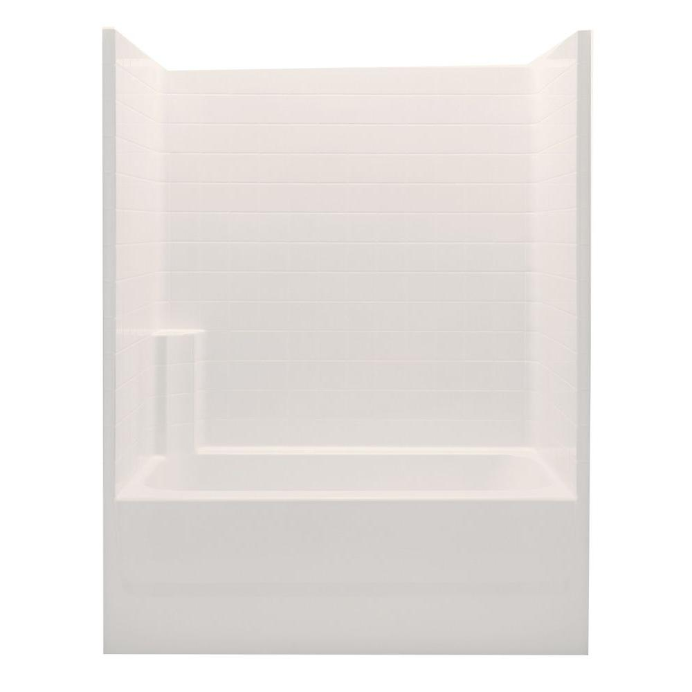 Aquatic Everyday 60 in. x 32 in. x 72 in. 1-Piece Bath and Shower ...
