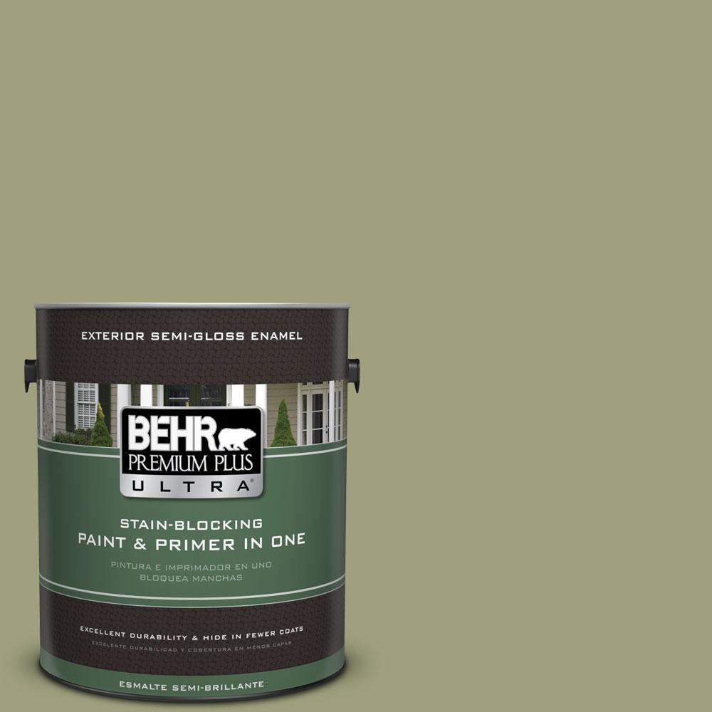 BEHR Premium Plus Ultra 1-gal. #BIC-57 French Parsley Semi-Gloss Enamel Exterior Paint