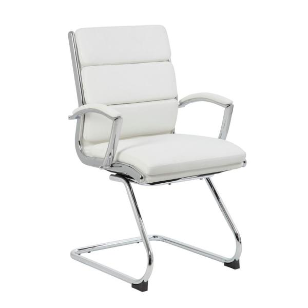 Boss White Mid Back Guest Chair B9479-WT