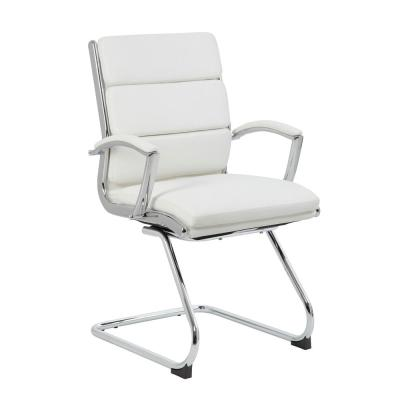 ExecutivePro Guest Chair White Caressoft Vinyl Chrome plated steel frame Deluxe Comfort Padded Arms