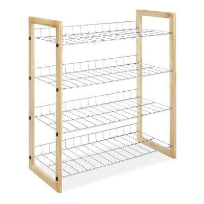 12-Pair Beige Portable Practical Iron Meshes Wood Shoe Organizer Rack