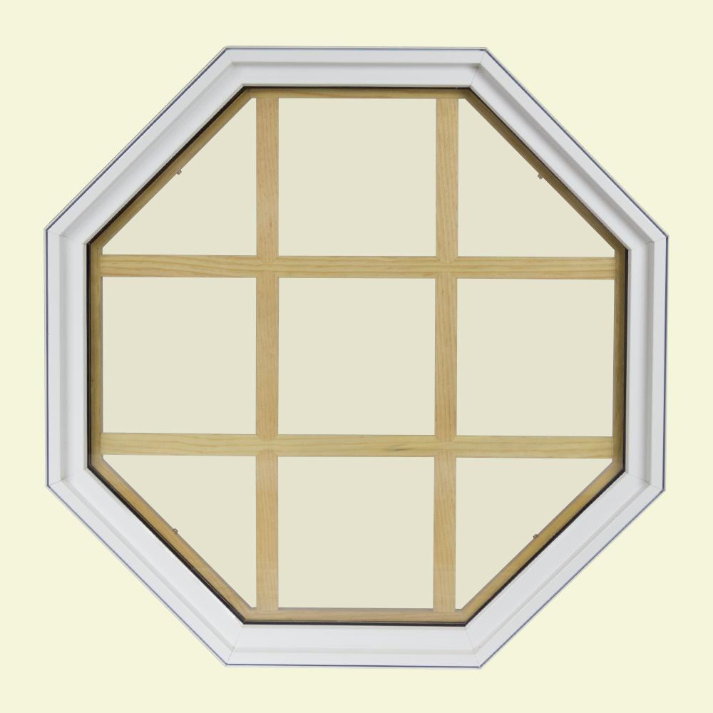 24 In X Octagon White 6 9 16 Jamb Lite Grille Geometric Aluminum Clad Wood Window