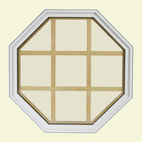 36 in. x 36 in. Octagon White 4-9/16 in. Jamb 9-Lite Grille Geometric Aluminum Clad Wood Window
