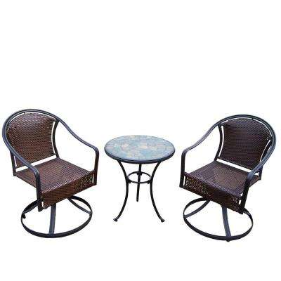 Stone Art Tuscany 3-Piece Swivel Patio Bistro Set