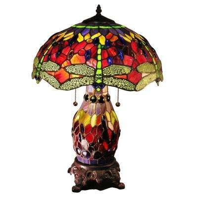 Zurie 23 in. Bronze Double-Lit Table Lamp with Red Dragonfly Shade