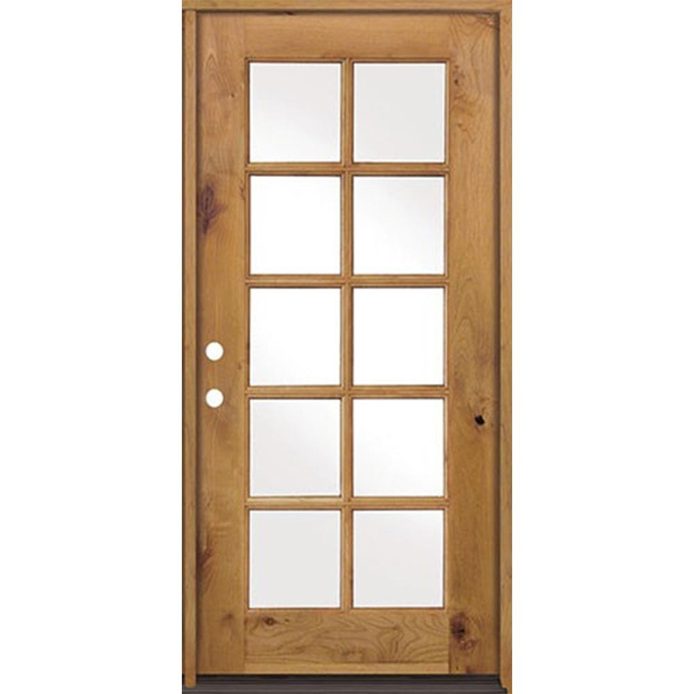 Krosswood Doors 36 In X 80 In Classic French Alder 10 Lite Clear Low E Left Hand Inswing