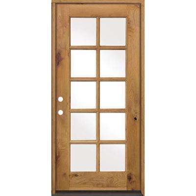 36 in. x 80 in. Classic French Alder 10-Lite Clear Low-E Left-Hand Inswing Unfinished Wood Exterior Prehung Front Door