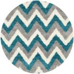 Kids Shag Ivory/Blue 7 ft. x 7 ft. Round Area Rug