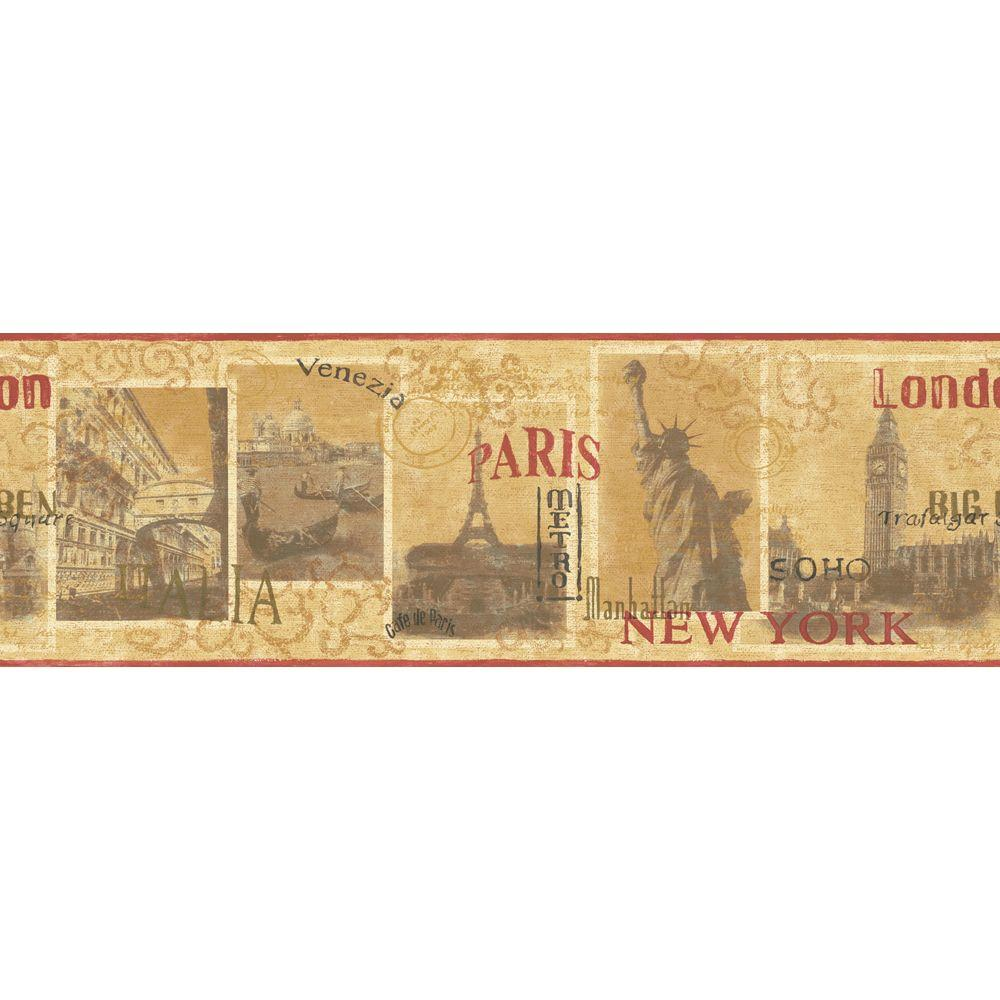 The Wallpaper Company 8 in. x 10 in. Red and Yellow World Cities Border Sample