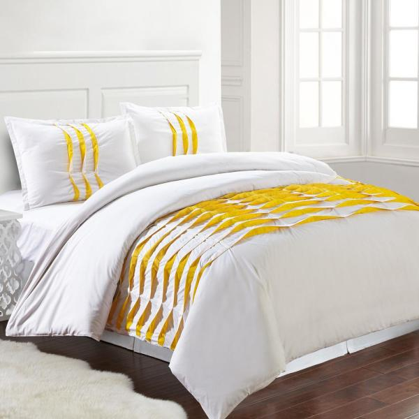 3-Piece Yellow King Duvet Cover Set