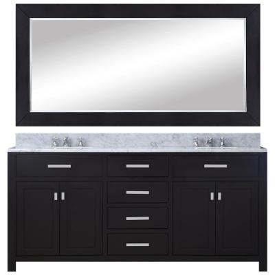 72 in. Vanity in Espresso with Marble Vanity Top in Carrara White and Mirror
