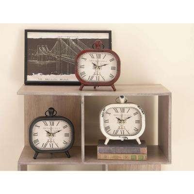 Classic Rounded Rectangle Iron Table Clock in Distressed Red and Black or White (3-Pack)