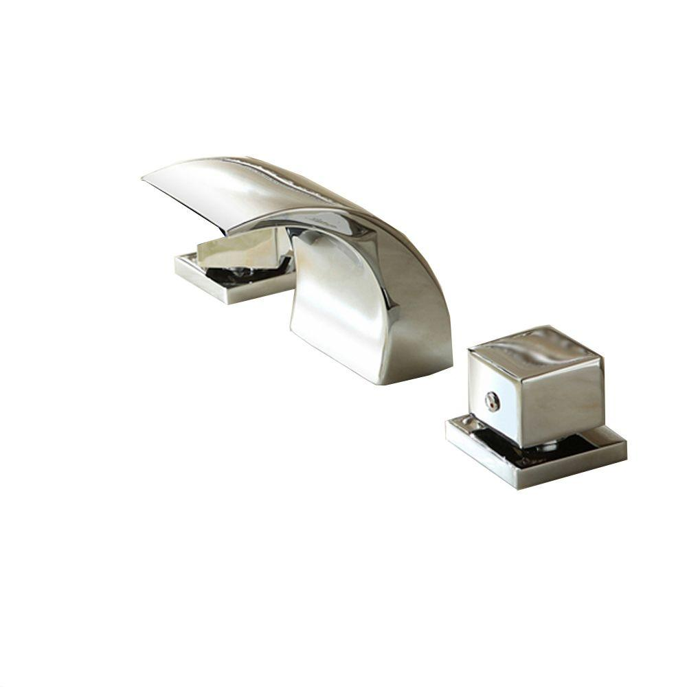 Kokols 2-Handle Deck-Mount LED Waterfall Roman Tub Faucet in Chrome ...