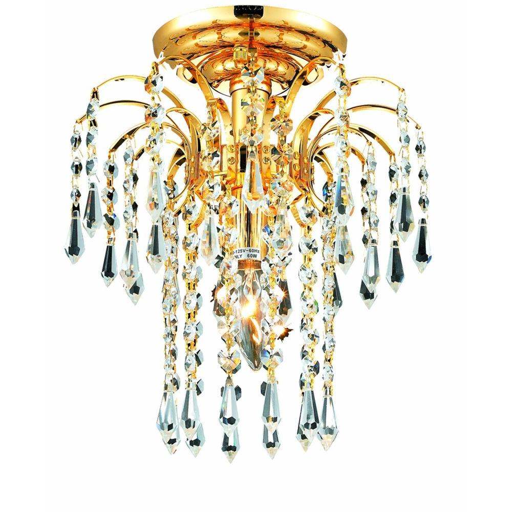 1-Light Gold Flushmount with Clear Crystal