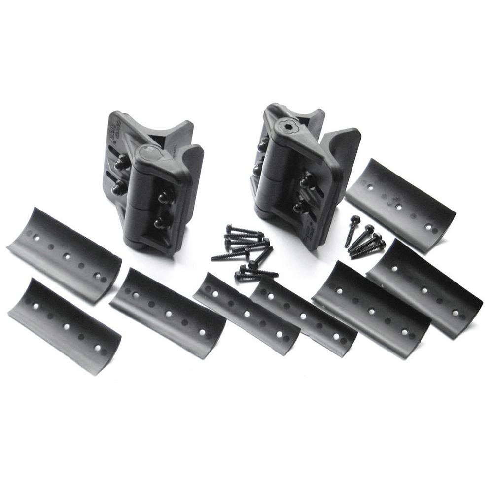 Black Heavy-Duty Nylon Polymer Self-Closing Multi-Adjustable Gate Hinges for