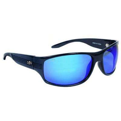Black Frame Express Sunglasses with Mirror Lenses in Blue