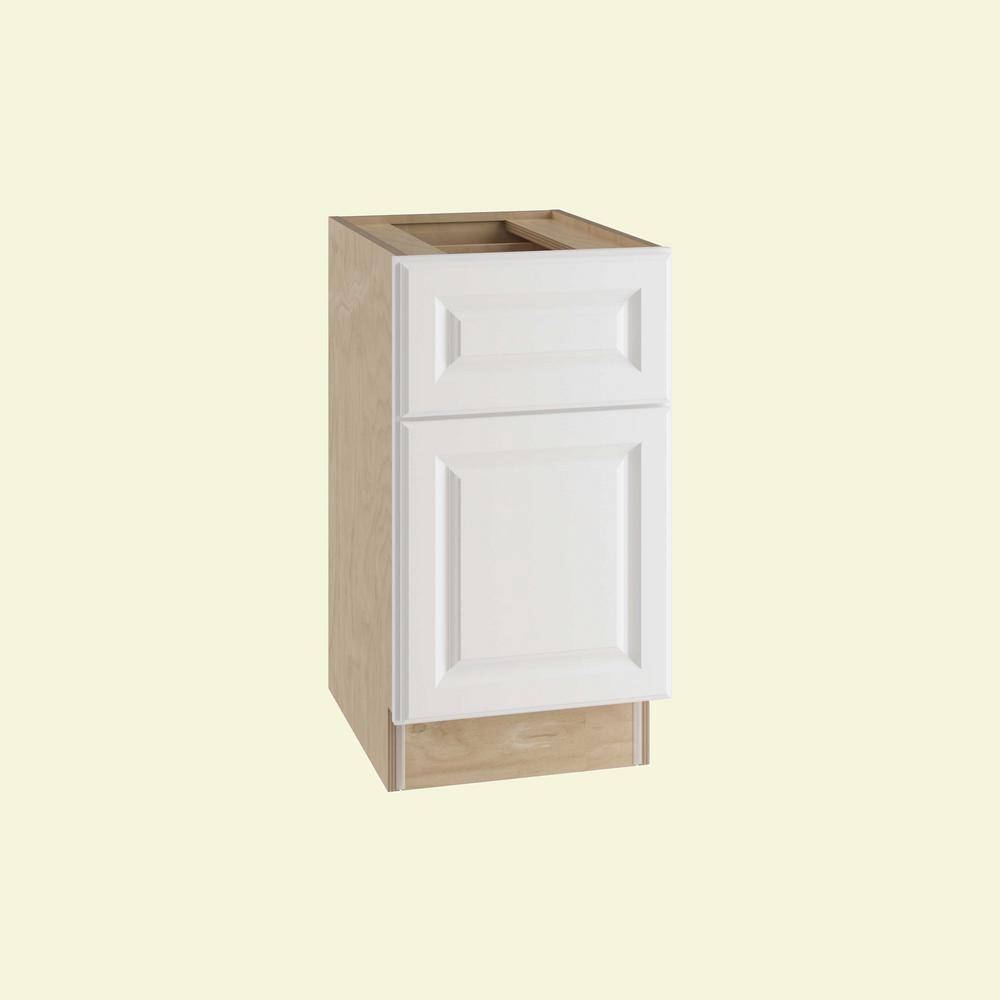 Home Decorators Collection Hallmark Assembled 15x28.5x21 in. Desk Height Base Cabinet with 1 Door Left Hand in Arctic White