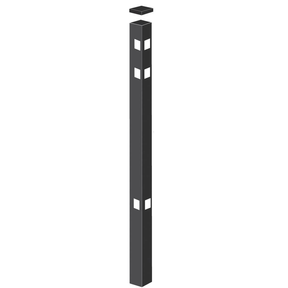 2 in. x 2 in. x 7-3/8 ft. Black Aluminum Fence