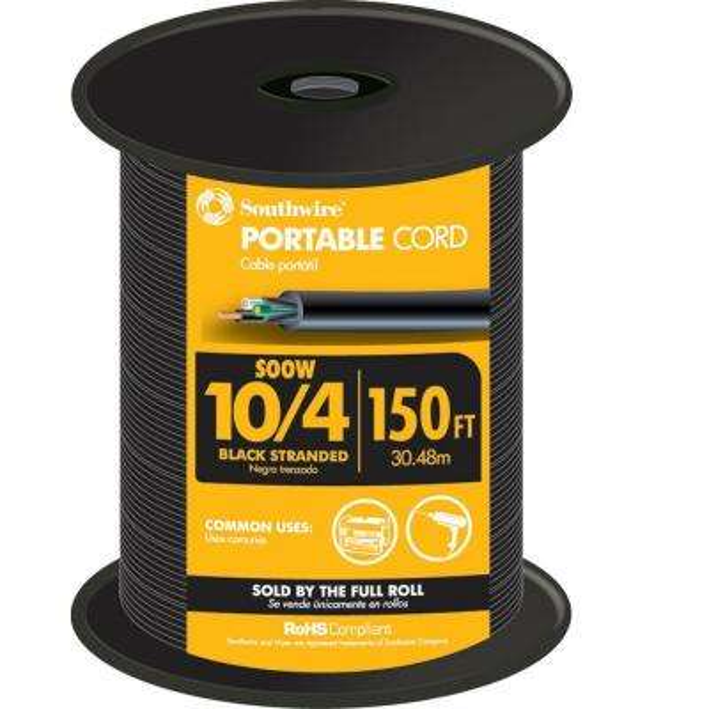 150 ft. 10/4 600-Volt CU Black Flexible Portable Power SOOW Cord