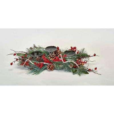 24 in. Pine Berry Candle Holder