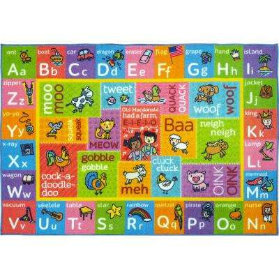 Multi-Color Kids Children Bedroom ABC Alphabet with Old McDonald's Animals Educational Learning 8 ft. x 10 ft. Area Rug