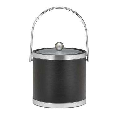 Sophisticates 3 Qt. Black w/Brushed Chrome Ice Bucket with Track Handle, Metal Cover
