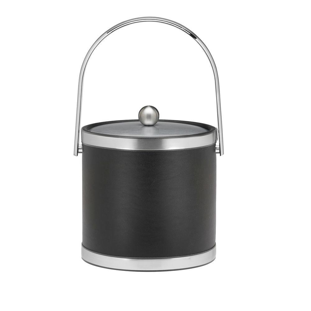 Sophisticates 3 Qt. Black w/Brushed Chrome Ice Bucket with Track Handle,