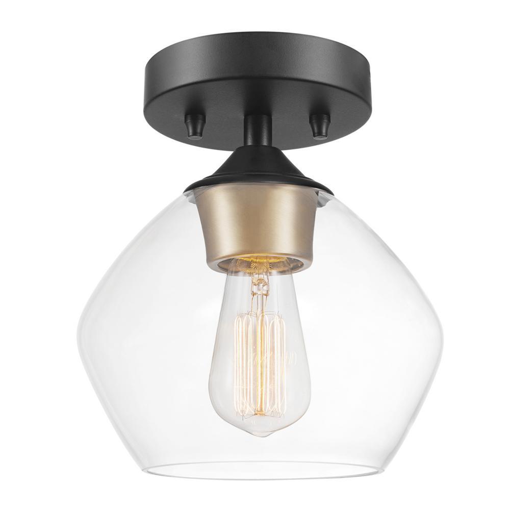 Globe Electric Harrow 1 Light Matte Black Semi Flush Mount Ceiling