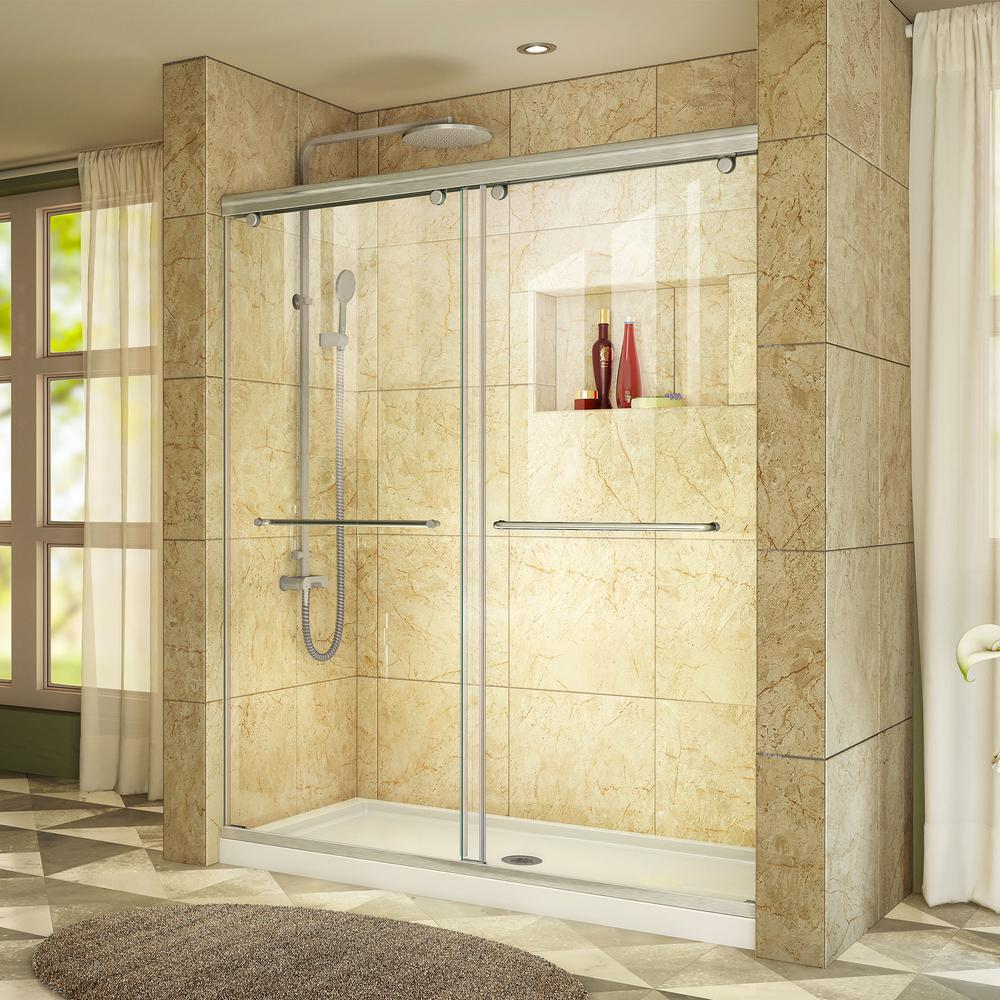 DreamLine Charisma 32 in. x 60 in. x 78.75 in. Semi-Frameless Sliding Shower Door in Brushed Nickel with Center Drain Base