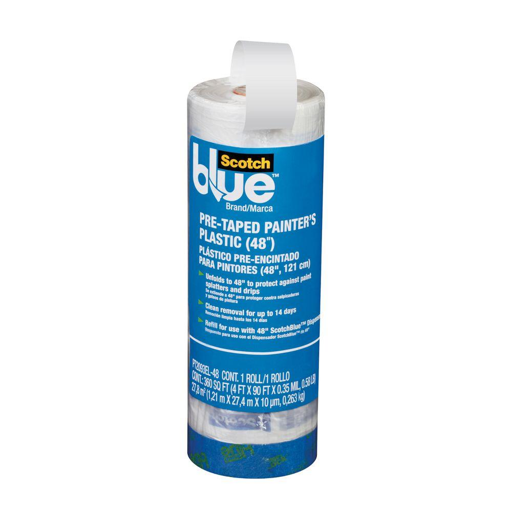 ScotchBlue 4 ft. x 90 ft. Clear Pre-Taped Painter's Plastic Sheet