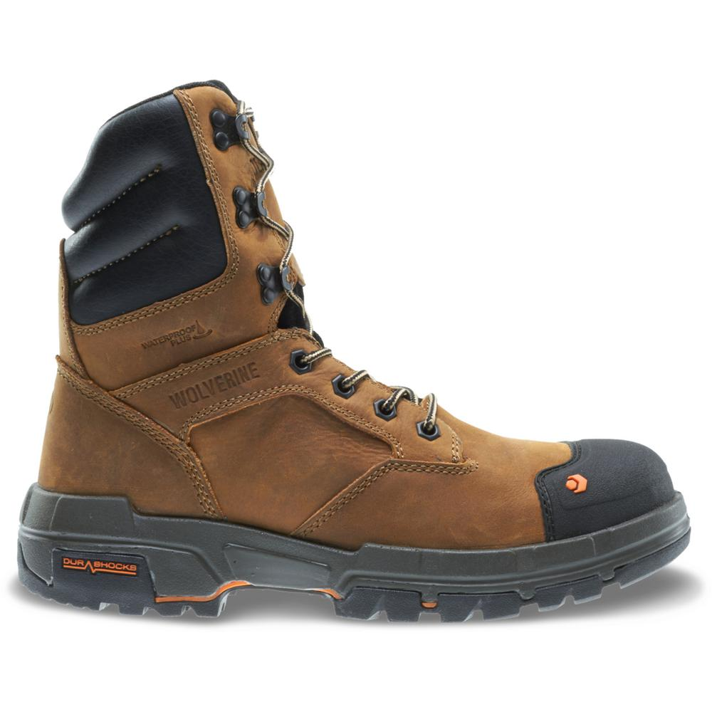 3cdf2ebea57 Wolverine Men's Wolverine Legend Size 11.5EW Tan and Black Full-Grain  Leather Waterproof Composite Toe 8 in. Boot