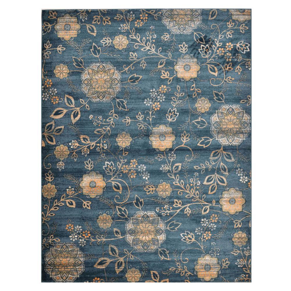 Floral Blue 8 ft. x 10 ft. Area Rug