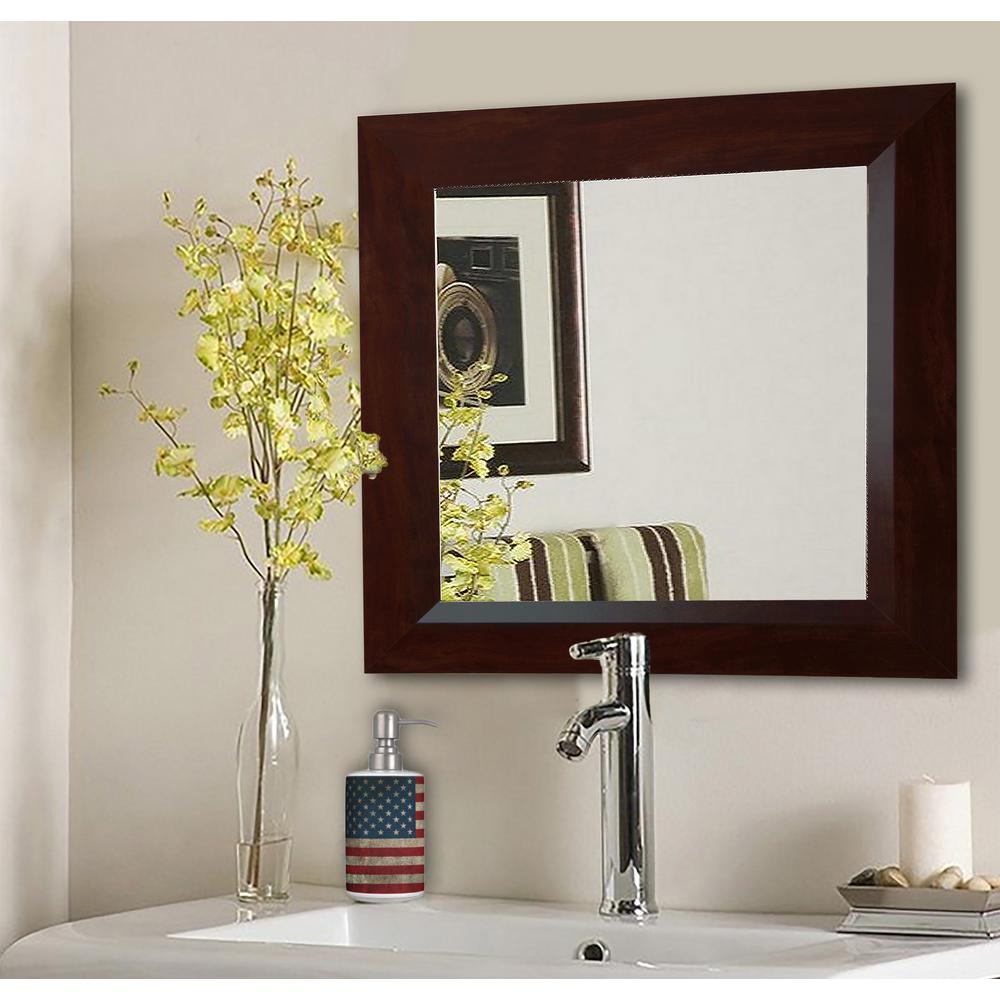32.75 in. x 32.75 in. Dark Walnut Square Vanity Wall Mirror