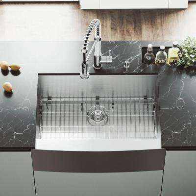 All-in-One Farmhouse Apron Front Stainless Steel 30 in. Single Bowl Kitchen Sink with VG02001 Kitchen Faucet in Chrome