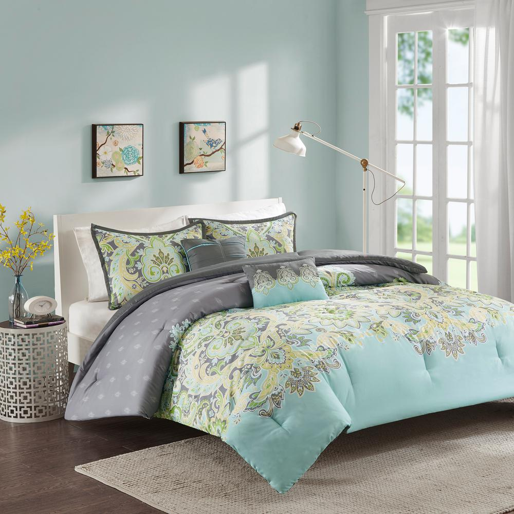 Intelligent Design Jade 5 Piece Aqua Kingcal King Paisley Comforter