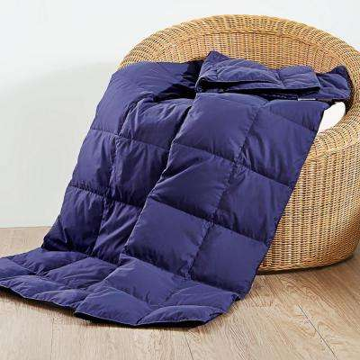50 in. x 70 in. Navy Natural Down and Feather Throw