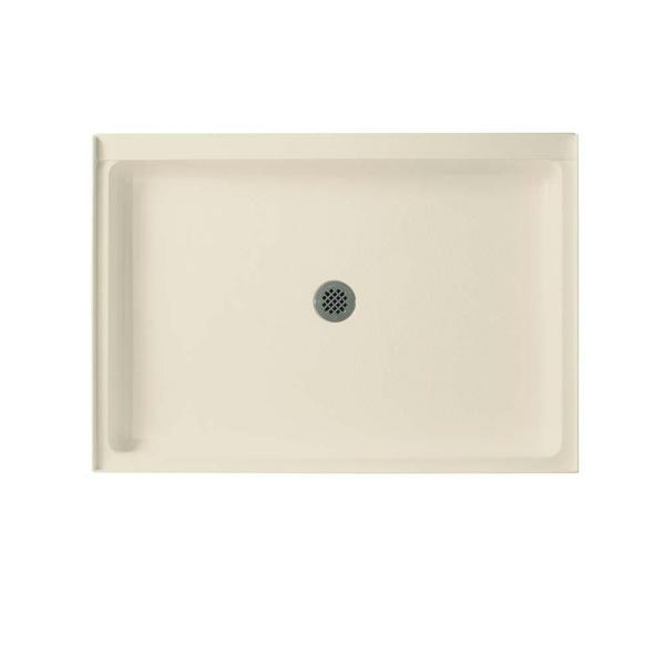 Swan 34 In X 48 In Solid Surface Single Threshold Center Drain Shower Pan In Gray Granite Sf03448md 042 The Home Depot