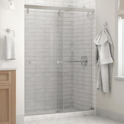Everly 60 x 71-1/2 in. Frameless Mod Soft-Close Sliding Shower Door in Chrome with 1/4 in. (6mm) Clear Glass