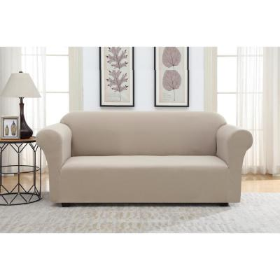 Tan Pique Stretch Fit Sofa Slipcover