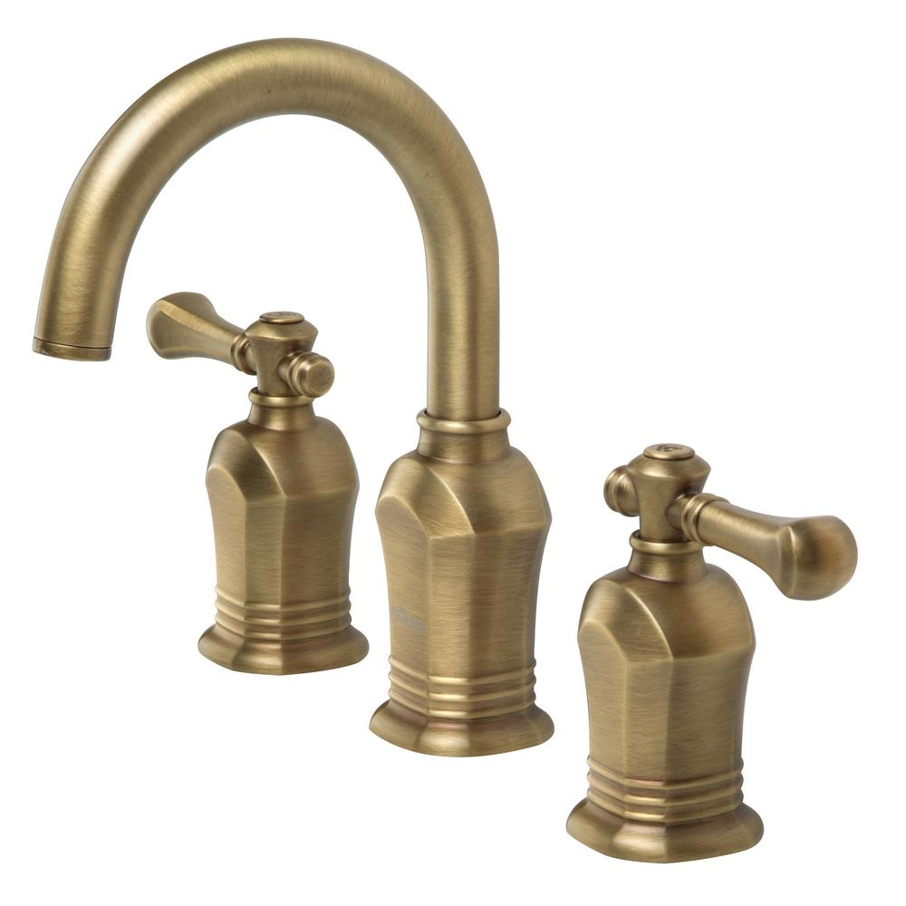 Pegasus verdanza series 8 in widespread 2 handle high arc bathroom faucet in antique brass Antique brass faucet bathroom