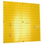Kitchen Pegboard 32 in. x 32 in. Metal Peg Board Pantry Organizer Kitchen Pot Rack Yellow Pegboard and White Peg Hooks