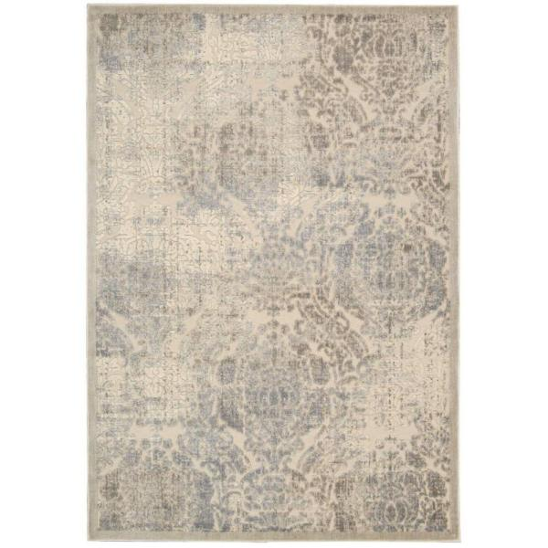 Graphic Illusions Ivory 5 ft. x 7 ft. Persian Vintage Area Rug