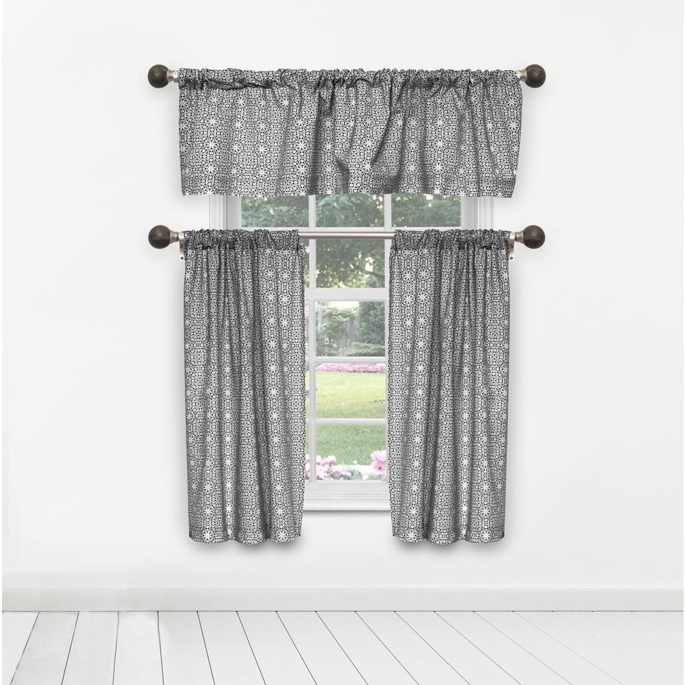 Duck River Liliana Kitchen Valance in Tiers/Black - 15 in. W x 58 in. L (3-Piece)