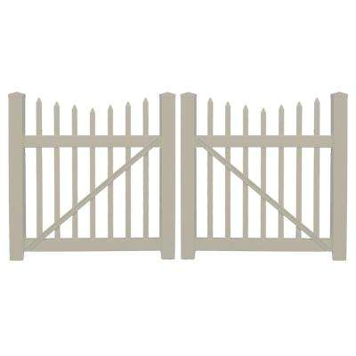 Stratford 8 ft. W x 4 ft. H Khaki Vinyl Picket Fence Double Gate