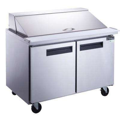 48 in. W 11.4 cu. Ft. 2-Door Commercial Food Prep Table Refrigerator in Stainless Steel with Mega Top