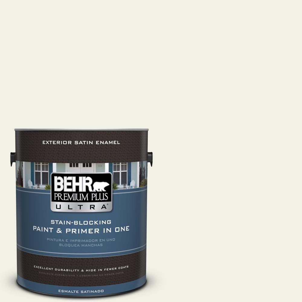 BEHR Premium Plus Ultra 1-gal. #PPL-57 White Smoke Satin Enamel Exterior Paint