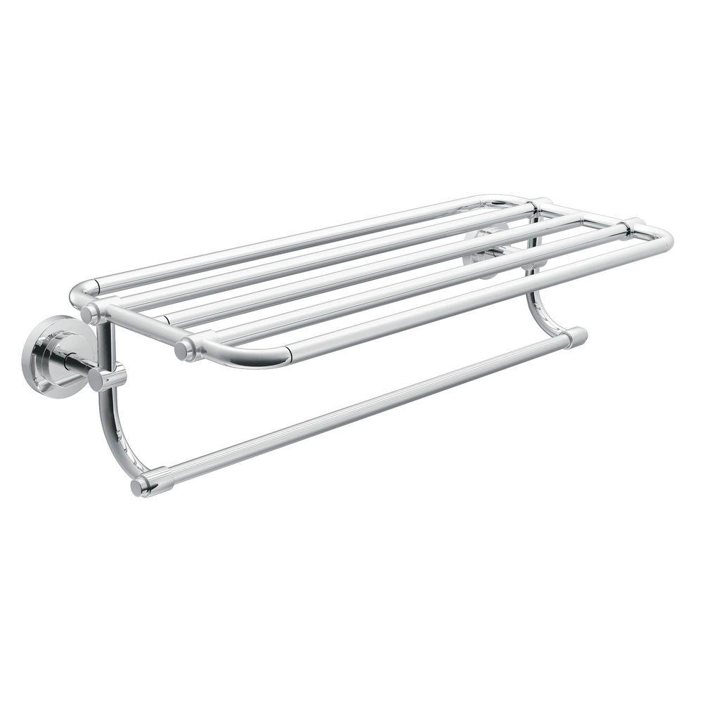 Moen Iso 10 7 In L X 6 9 25 H 26 19 20 W Zinc Hotel Style Bathroom Shelf Chrome Dn0794ch The Home Depot